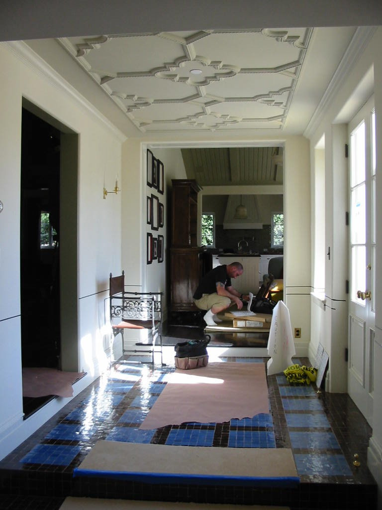 Santa Monica Gut Remodel - Moroccan tile and plaster ceiling in the hallway