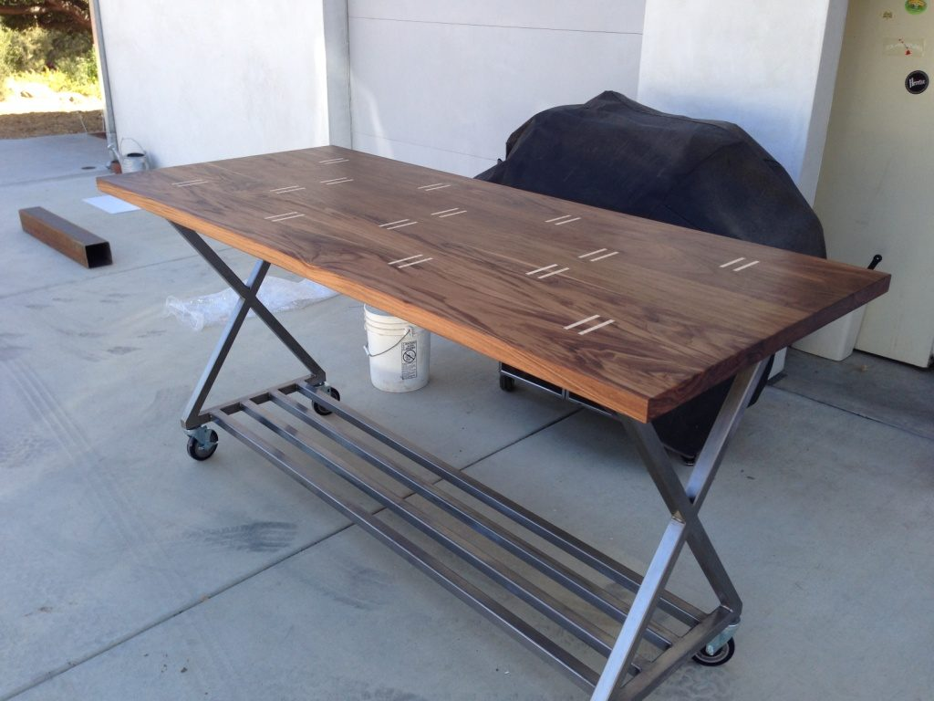 Walnut, custom steel X frame, caster wheels, bar top, with spruce splines