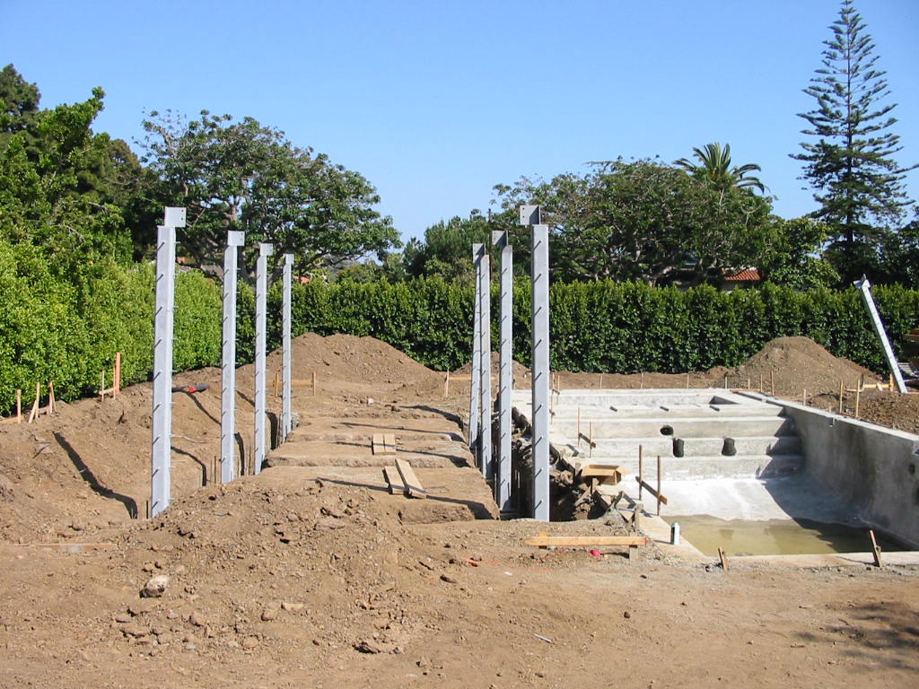 Santa Monica Gut Remodel - steel column frame for pool house